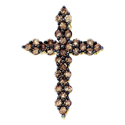 Channel Set Diamond Cross Pendant - Sonia Jewels 10K Yellow Gold Round Cut Channel Set Chocolate Brown Diamond Cross Pendant - (1/2 cttw.)