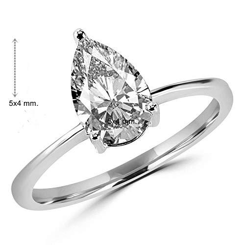 Gia Certified 0.30 Carat Pear Shape Natural Diamond 14K WHite Gold Wedding Ring ()