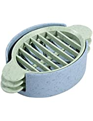 Fdit Egg Cutter Slicer Splitter Creative Multifunction Wheat Straw Boiled Chopper Sectioner Kitchen Blade Tool(Blue)