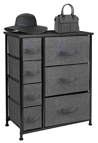 Sorbus Dresser with Drawers - Furniture Storage Tower Unit for Bedroom, Hallway, Closet, Office Organization - Steel Frame, Wood Top, Easy Pull Fabric Bins (7-Drawer, Black/Charcoal)