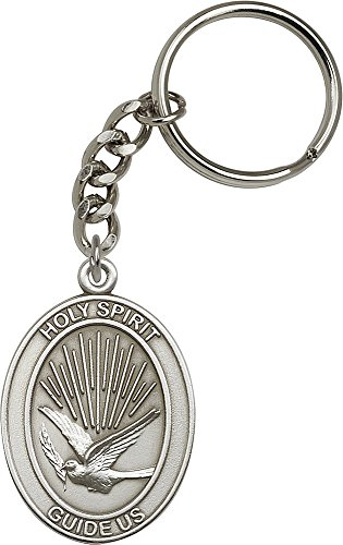 Antique Silver Plated Holy Spirit Keychain 1 7/8 x 1 1/4 inches
