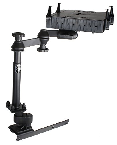 No Drill Vehicle Laptop Mounts - RAM Mount RAM-VB-178A-SW1-FL No-Drill Laptop Mount with Adjust-A-Pole and Tough-Tray Flat Retaining Arms for the Dodge RAM 1500-5500 92008-2016)