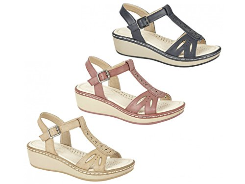Heel Ladies Beige Boulevard Wedge Back Beige PRIYA Shoes Pu Halter PgwfXq