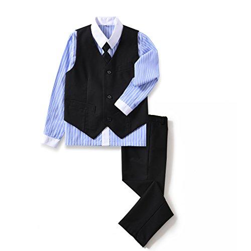 YuanLu 4 Piece Boys's Formal Suit Set with Black Vest Pants White Dress Shirt and Tie Size 10