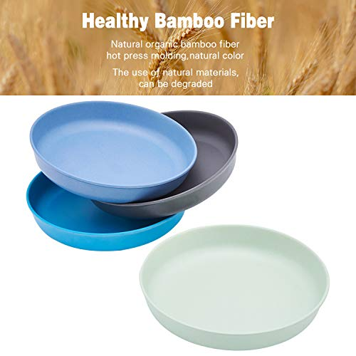 4pcs Bamboo Kids Plates for Baby Feeding, Non Toxic & Safe Toddler Plates (8