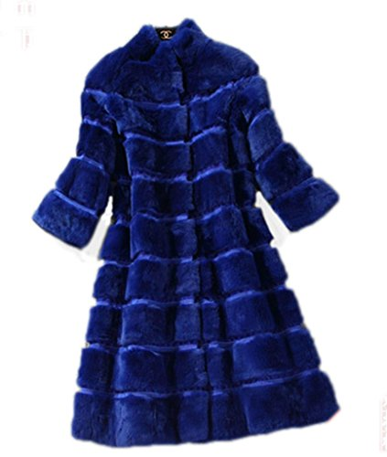 YR.Lover Fashion Womens 100% Real Rex Rabbit Fur Short Sleeve Long Coat&Jacket
