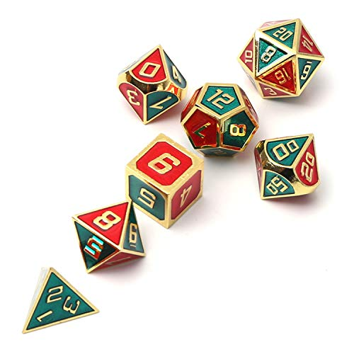 REDSUN D&D Metal Dice,RPG Dice Set,Polyhedral Solid Enamel Zinc Alloy ,New  Font,for Role Playing Game Dungeons and Dragons (Green)