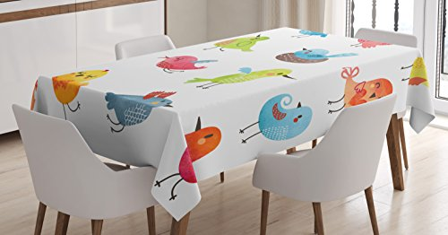 Ambesonne Animal Tablecloth, Colorful Birds Watercolor Effect Humor Funny Mascots Paint Brush Art Kids, Rectangular Table Cover for Dining Room Kitchen Decor, 60