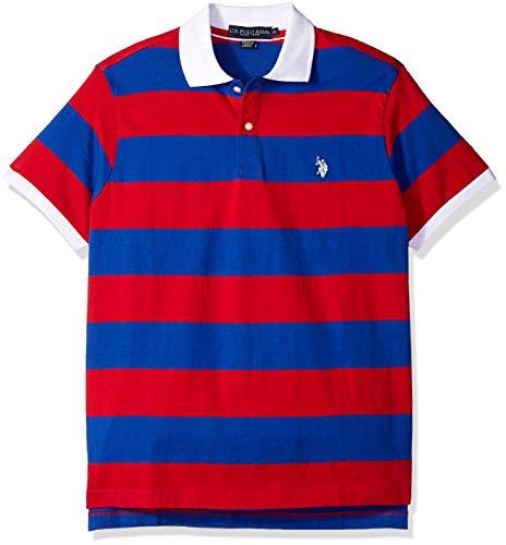 U.S. Polo Assn. Men's Wide Stripe Polo Shirt, Engine red, L