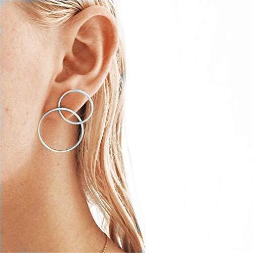 (Dolland Womens Geometric Circle Dangling Earrings Cross Drop Earrings Elegant Hollow Circle Simple Stud Earrings for Girl and Women,Silver)