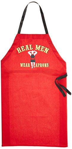 (Ritz 1892 Funny Printed BBQ Kitchen Bib Apron, Real Men Wear Aprons, Red )