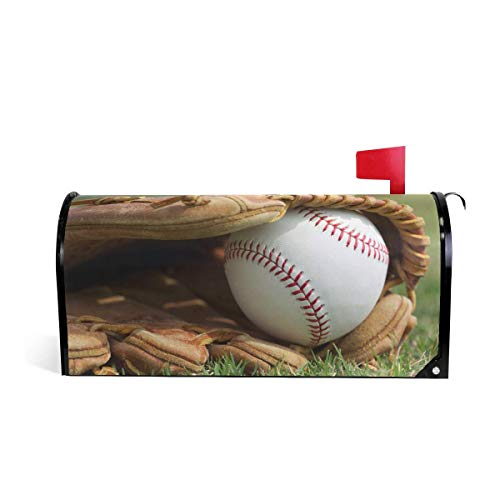 Outfield Pattern Baseball Glove - NOAID New Baseball Glove The Outfield Grass Magnetic Mailbox Cover Wraps MailWraps Garden Yard Home Decor for Outside Standard Size-18