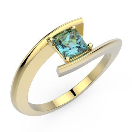HABY PRINCESSE Bagues Or Jaune 18 carats Topaze Bleu 0,8 Princesse