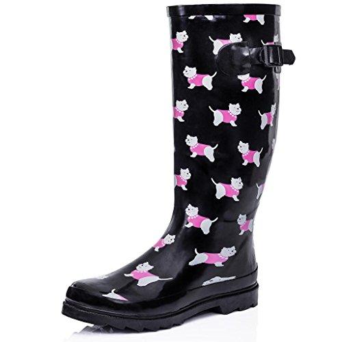 - Flat Festival Wellies Wellington Knee High Rain Boots Black US 8