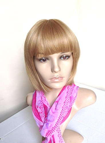 Natural Wig Heat Friendly Synthetic Hair Natural Blonde Bob Regular Wear or Halloween Cosplay (2 Wig Caps Provided) -