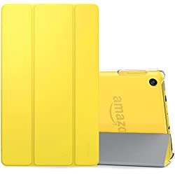 MoKo Case for All-New Amazon Fire HD 8 Tablet (7th Generation, 2017 Release Only)-Lightweight Slim Shell Stand Cover with Translucent Frosted Back for Fire HD 8, Lemon YELLOW (with Auto Wake/Sleep)