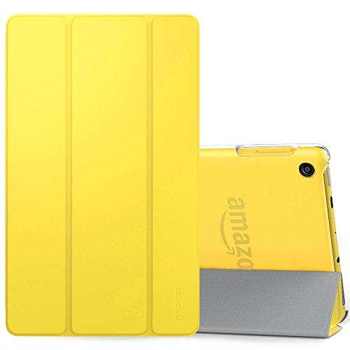 MoKo Case Fits Amazon Fire HD 8 Tablet (7th/8th Generation, 2017/2018 Release) -Lightweight Slim Shell Stand Cover with Translucent Frosted Back for Fire HD 8, Lemon Yellow (with Auto Wake/Sleep) Clear Front Translucent Portfolios