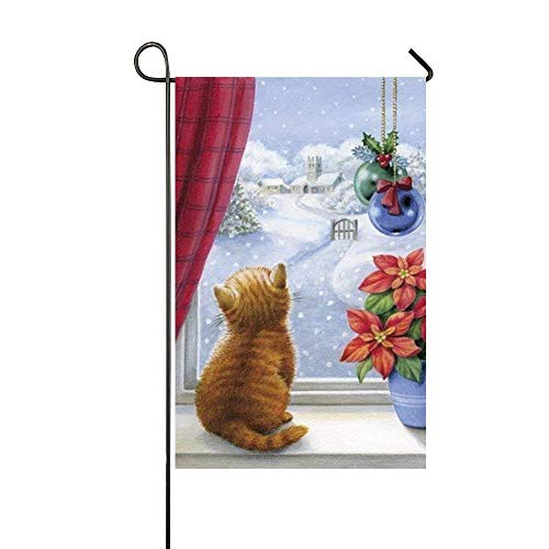 Dozili Garden Flag Cat Enjoy The Outside Snow Home Decoratio