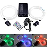 32W Fiber Optic Star Ceiling Light Kit, LED RGBW Double Head Engine Driver with RF 28 Key Remote Control + Crystal + Cables 0.03in/0.75mm 13.1ft/4m 800pcs
