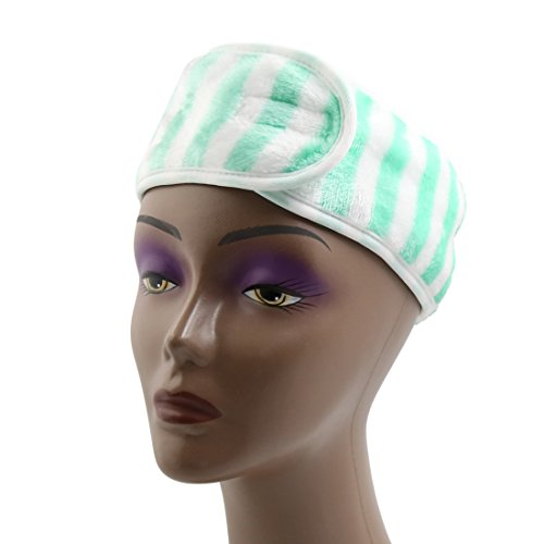 uxcell Green Stripe Polyester Hook Loop Closure Make Up Face Wash Hair Band Headband (Polyester Loop Stripe)