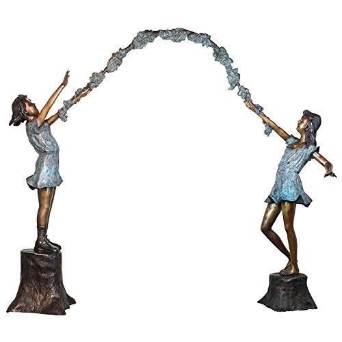 Design Toscano Grand Scale Flower Arbor Kids Cast Bronze Garden Statue by Design Toscano