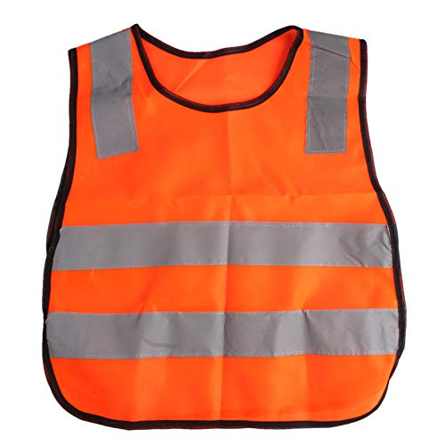 AngelicaAP High Visibility Kids Safety Vest, Children Waistcoat Vest Grey Reflective Strips Traffic Clothes -
