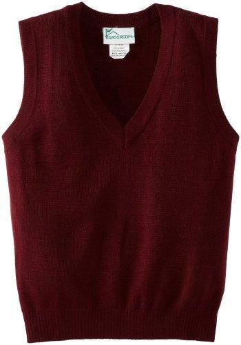 Stitch V-neck Vest Sweater - CLASSROOM Little Boys' Uniform Sweater Vest, Burgundy, X-Small
