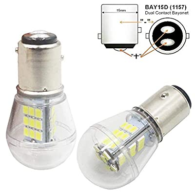 AMAZENAR 2-Pack 10-24V DC Extremely Bright White 1157 2057 2357 7528 BAY15D 33SMD LED Bulbs Replacement for Halogen lamp Back Up Reverse Lights Tail Brake Lights Side Marker Interior RV Camper Light: Automotive