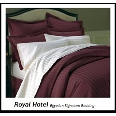 Royal's Striped Burgundy 800-Thread-Count 3pc Queen Duvet-Cover 100-Percent Egyptian Cotton, Sateen Striped