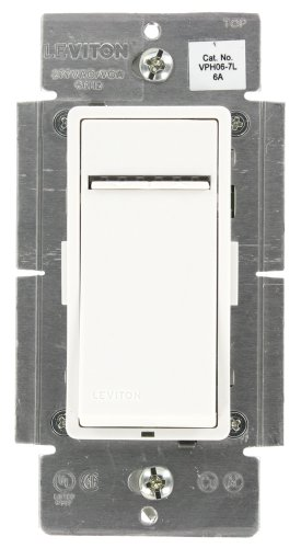 Leviton VPH06-7LZ, Vizia + Digital 6A Fluorescent Dimmer for Hi-lumeor Eco-10 Ballasts, Single Pole and 3-Way, White/Ivory/Light Almond