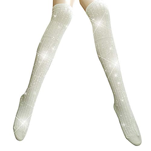 PearlyKelly white knee high Glitter socks, Metallic Women's Socks Shiny socks, bling bling, Sparkling socks, Retro fashion socks, gift ideal