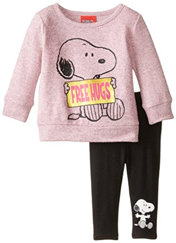 Price comparison product image Peanuts Baby Girls' 2pc T-Shirt and Legging Set,  Bubble Gum Heather,  3 Months