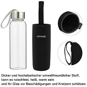 Voyage - Botella de cristal Classic sin BPA, de 550 ml, con funda de nailon, para el coche, para viajes o deportes, Negro: Amazon.es: Hogar