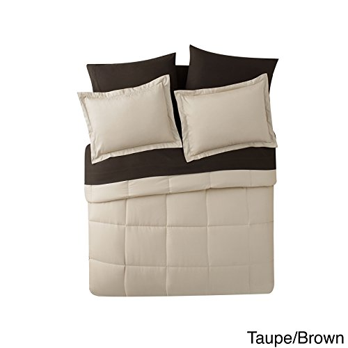 King Size Complete BED-IN-A-BAG Reversible in Taupe / Brown Contrasting Colors 7 Pc Set w/ Sheets