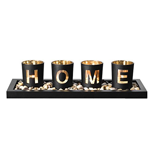Decorative Glass Candle Holder Set with Ornamental Earth Stones and Black MDF Tray for Home Decor, includes 4 Glass Cups Featuring 'HOME' Wording, Great Gift Idea for Wedding, Spa, Appreciation & More by Maanic