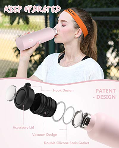 FJbottle Insulated Water Bottle 34 oz with Durable Carry Case, Stainless Steel Wide Mouth Lids, Keeps Liquids Hot or Cold, Double Wall Sweat Proof Sport Design, Ideal Gift Choice, Blush Pink