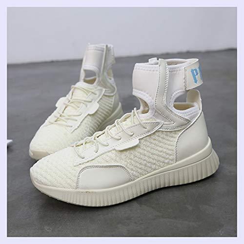 Alto XINGMU Perfil Femeninos Sock Calzados Hip amarillento Tie Hop Sneakers Arroz XaaqSB