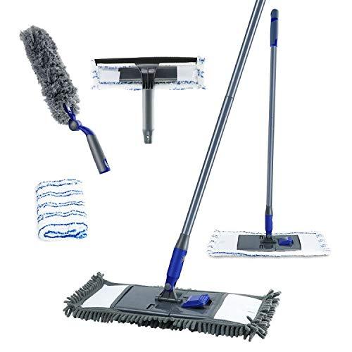 Mastertop 3Pcs Floor Cleaning Tools Microfiber Dust Mops with 2-in-1 Window Squeegee Long Handle Duster for Floor Window Car ...