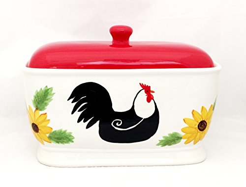 Tuscany White Red Sunflower Rooster Hand Painted Ceramic BreadBox/ Toast Jar, 86875 by ACK