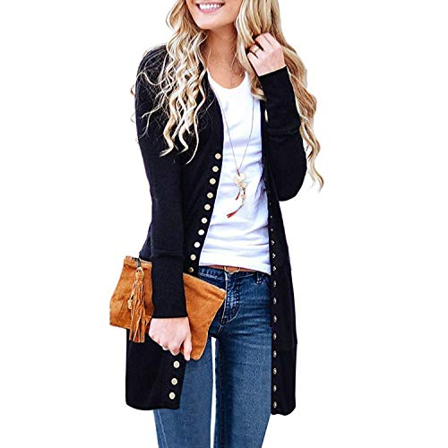 SATINATO Sweaters for Women,Cardigan Sweaters for Women, Long Sleeve Soft Basic Knit Solid Color Cardigan Sweater (Black, M)