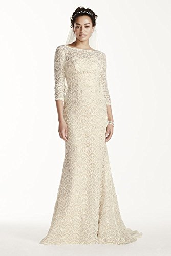 David's Bridal Oleg Cassini Beaded Lace 3/4 Sleeved Wedding Dress Style CWG711, Solid White, 6