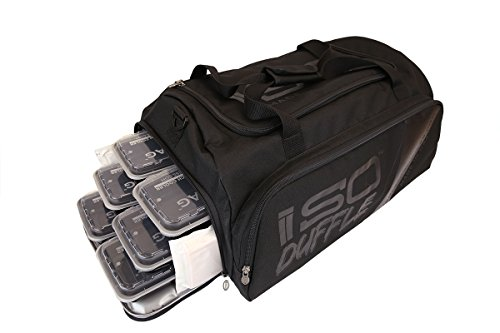 Isolator Fitness ISODUFFEL Gym Bag Meal Prep Management Insulated Lunch Bag MADE IN USA Blackout w/BPAfree/microwave/dishwasher/freezer safe/stackable Meal Prep Containers ISOBricks Strap (Isolator Cooler)