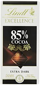 Lindt Excellence 85% Cocoa Extra Dark Chocolate, 3.5 oz (Pack of 6)