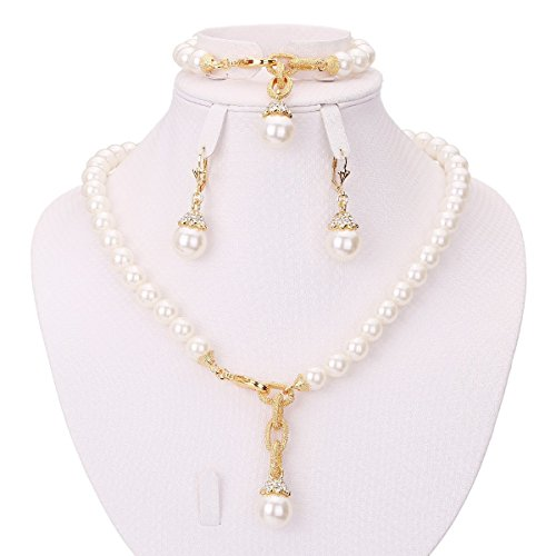 MOOCHI Simulated-Pearls Gold Plated Necklace Earrings Bracelet Jewelry Set ()