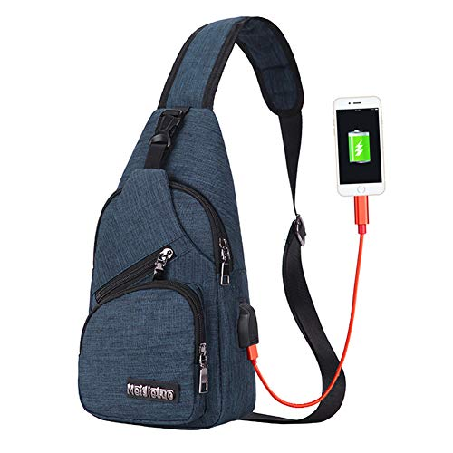Price comparison product image Sling Bag Men Chest Shoulder Backpack Crossbody Bag with USB Charging Port for Women Hiking Cycling Camping Daypacks