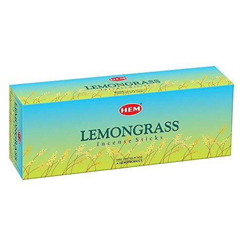 HEM Lemongrass Incense Sticks - Box of Six, 20 Sticks Each Box Incense Hand Rolled in India
