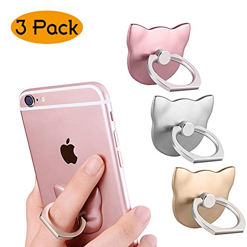(Phone Ring Cell Phone Ring Stand Holder 360°Rotation Finger Ring Grip Compatible with iPhone Samsung Galaxy Huawei and Most Phones Cases Kickstand for Smartphones (Phone Ring Cat 3))