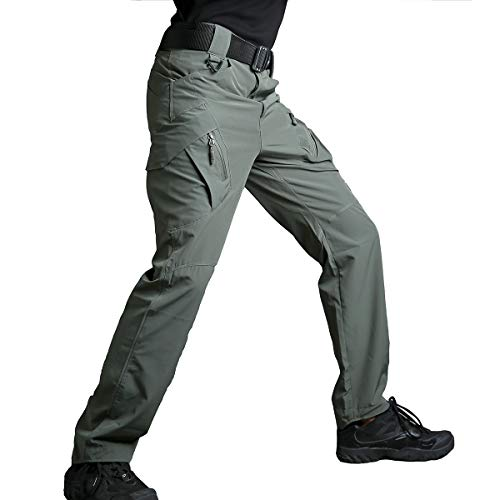 (ReFire Gear Mens Summer Lightweight Quick Drying Sportswear Outdoor Pants Stretch Multi-Pockets Rip-Stop EDC Army Combat Work Tactical Pants, Army Green, 36W x 32L)