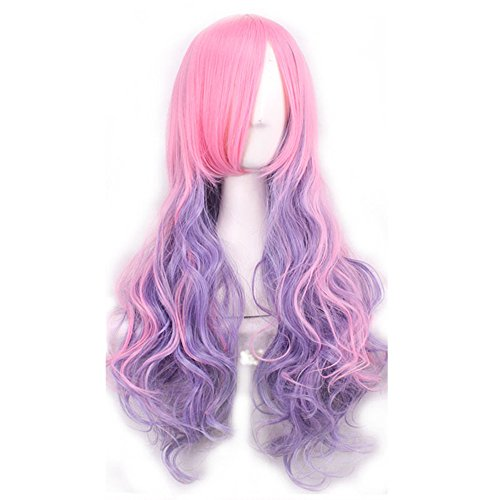 [MOCOO New Women'sMulticolor Lolita Long Curly Wavy Glamour Hair Wig/Cosplay /Party Costume Wig(Light purple + Pink)JF006E] (Top 10 Curly Hair Halloween Costumes)