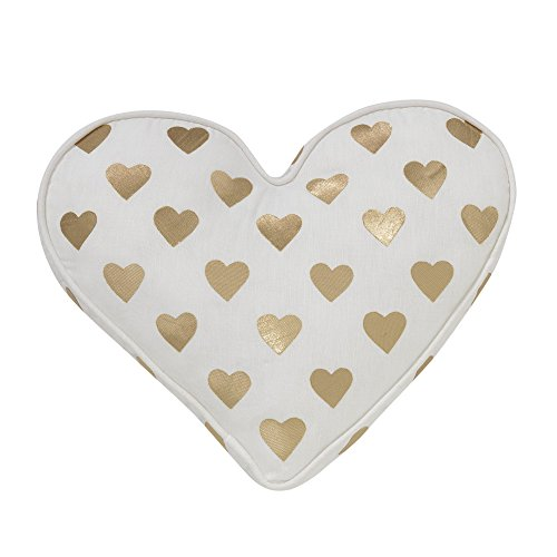 Lambs & Ivy Baby Love White/Gold Heart Decorative Pillow - Great Welcome Home Gift for Mommy and Baby by Lambs & Ivy